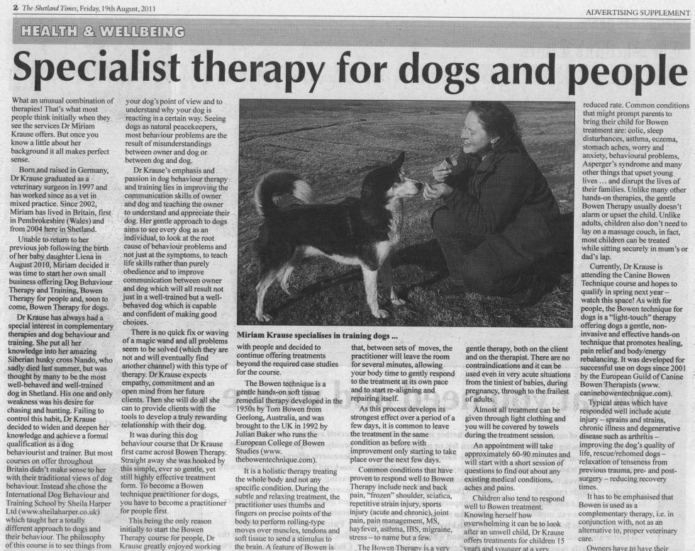 Shetland Times article, part 1: 'Specialist therapy for dogs and people', 19th Aug 2011